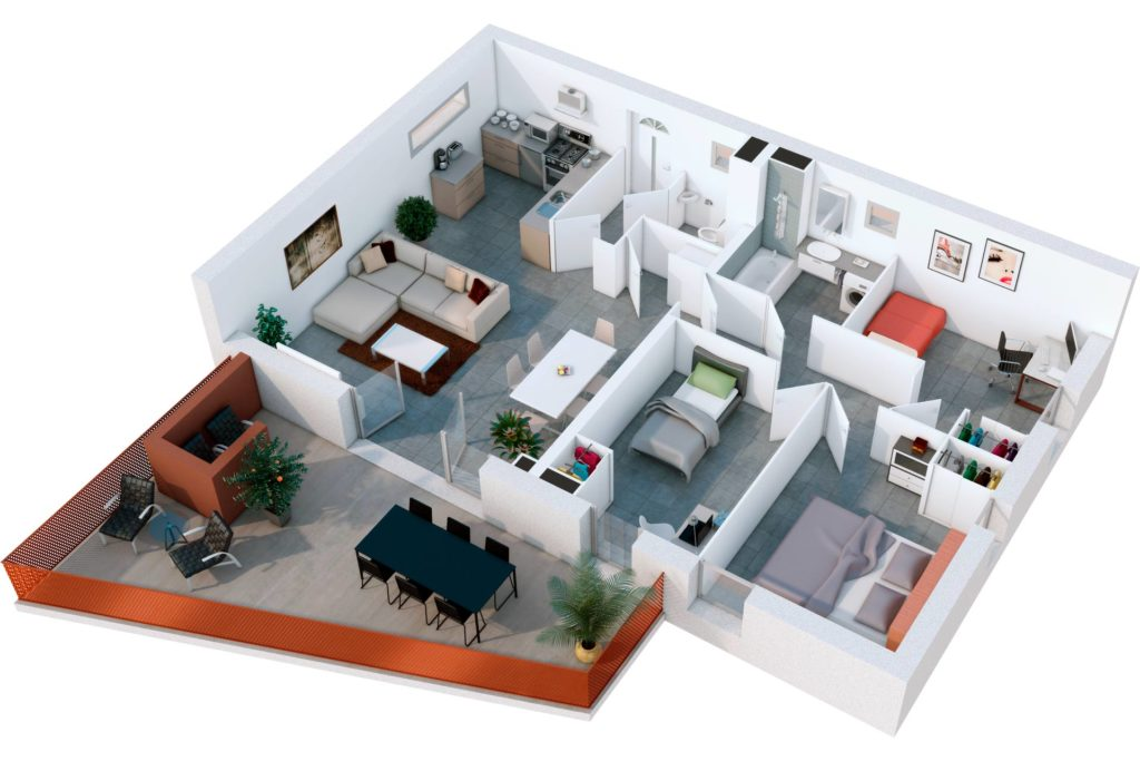 plans de vente 3d de logements les yeux carres. Black Bedroom Furniture Sets. Home Design Ideas